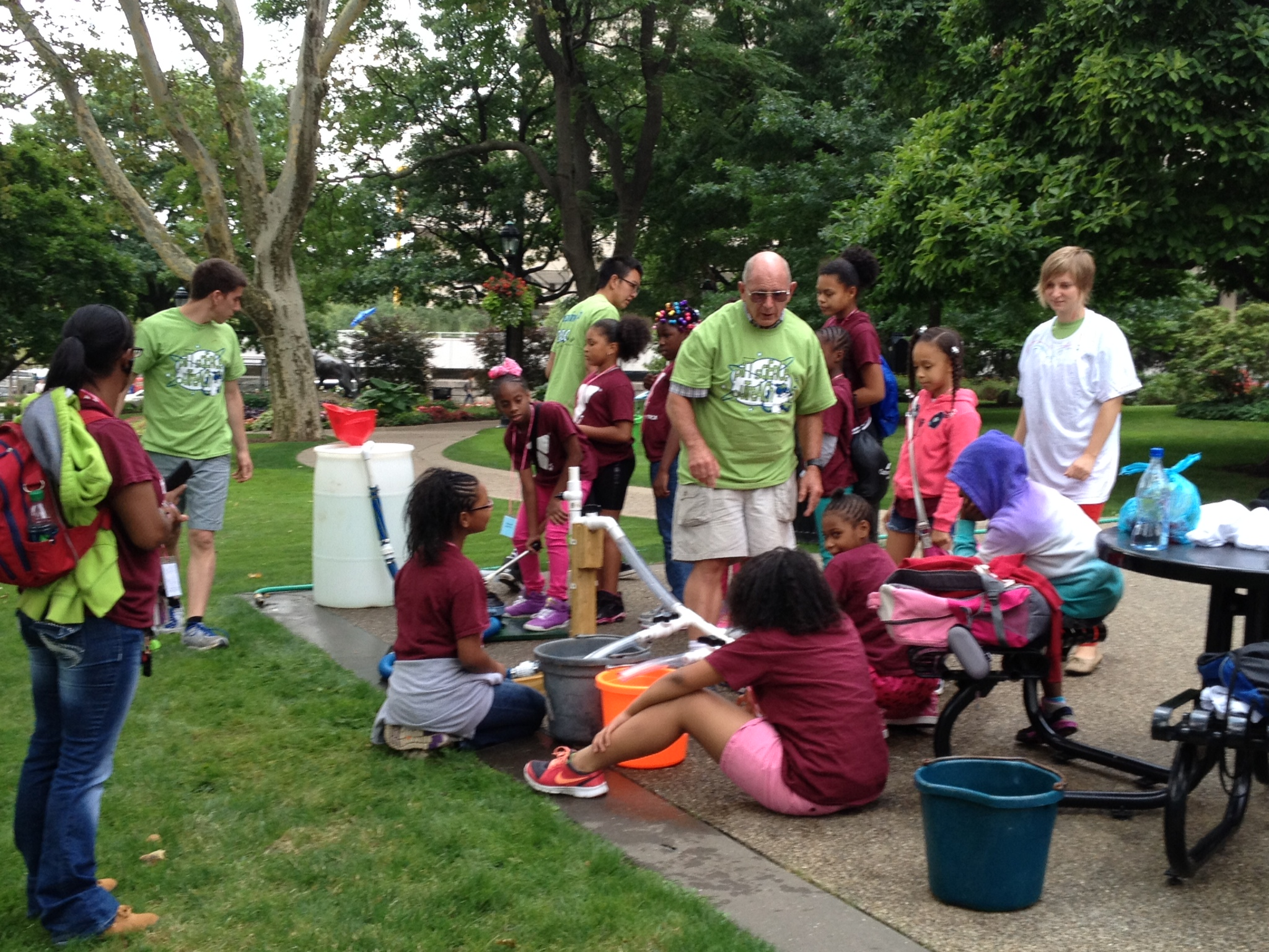 Campers learn how the heart functions from retired cardiologist Dr. Jim Elson.