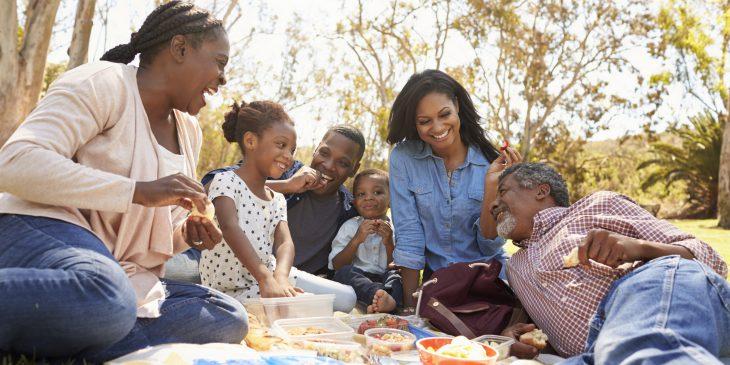 Multi Generation Family Enjoying Picnic In Park Together