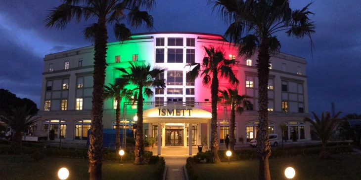 ISMETT building lit with Italian flag to honor health care wokers