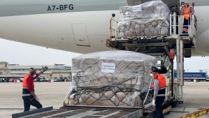 PPE unloaded from cargo plane in Sicily.